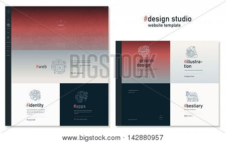 Design studio website flat contemporary template - website layout on design with topic blocks of graphic design, web design, identity, illustration, application development, company profile, bestiary