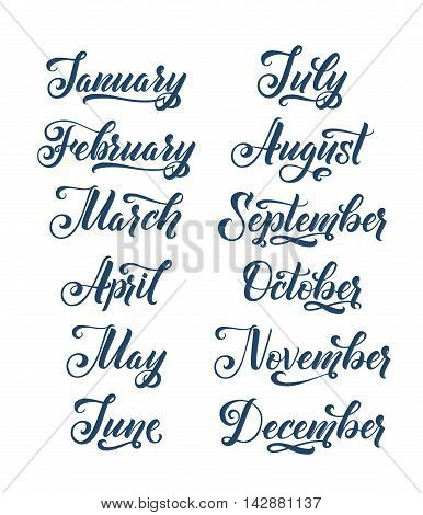 Calligraphy Months of the Year Set. Make your own Calendar