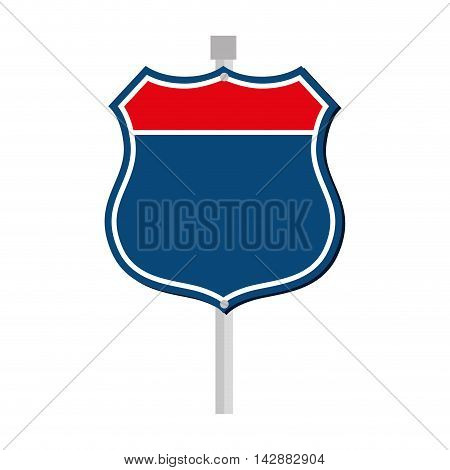 sign road roadside traffic highway american vector  isolated and flat illustration