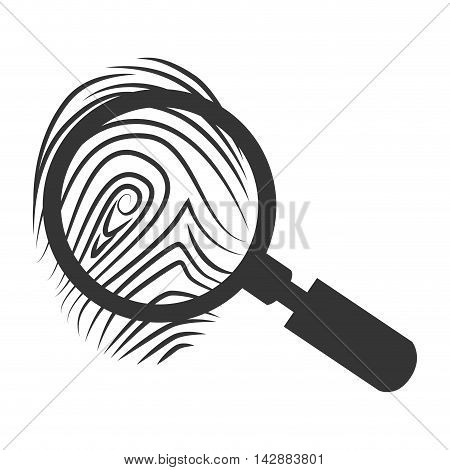 lupe scene crime magnifying search investigation silhouette vector  isolated and flat illustration