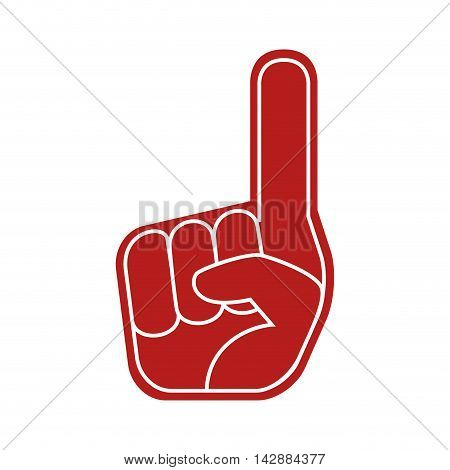 foam finger hand american sport game support vector  isolated and flat illustration