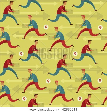 Flat design colorful vector seamless pattern concept for courier delivery service