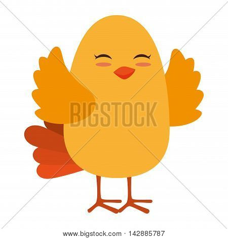bird fly cute animal wing chick nature yellow vector  isolated and flat illustration