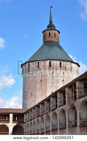 Fortress tower of Kirillo-Belozersky monastery by day near City Kirillov Vologda region Russia.