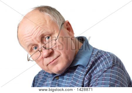 Bald Senior Man With Glasses