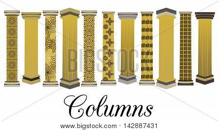 Column set. Doric Roman style. Vector illustration.