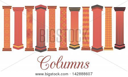 Column Set. Doric, Roman Style. Vector Illustration.