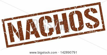 nachos stamp. brown grunge square isolated sign