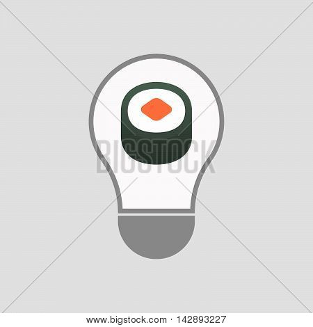 Isolated Line Art Light Bulb Icon With A Piece Of Sushi Maki