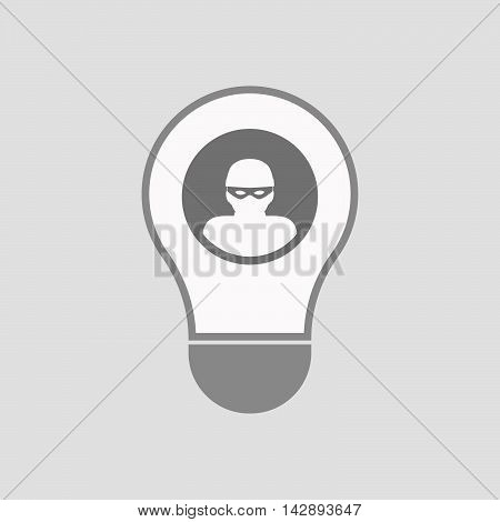 Isolated Line Art Light Bulb Icon With A Thief