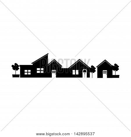 house street tree modern residential real home building exterior residence vector  illustration isolated