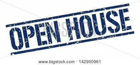 open house stamp. blue grunge square isolated sign