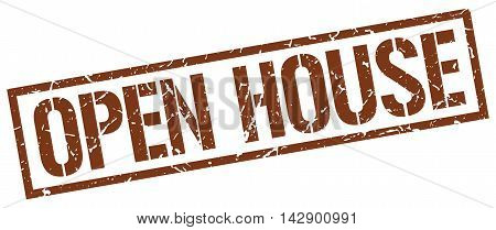 open house stamp. brown grunge square isolated sign