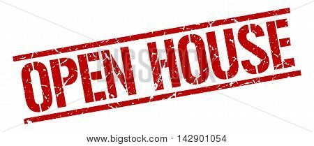 open house stamp. red grunge square isolated sign