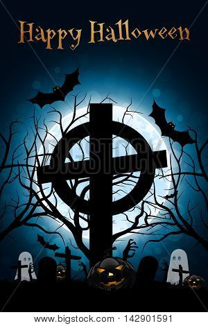 Halloween Zombie Party Poster. Halloween Holiday Card or Invitation Template. Grave, Grave Cross, Ghosts, Bats and Pumpkin.
