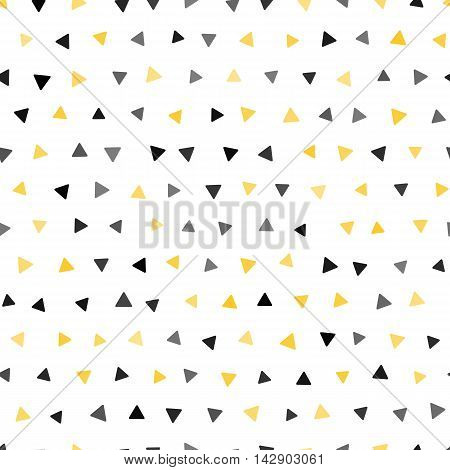 Seamless geometric pattern with triangles. Vector gold, black and white random triangle seamless pattern.Tribal inspired seamless geometric pattern with triangles