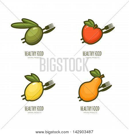 Set Of Vector Healthy Food Logo, Emblem, Label Design.