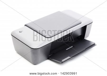 Grey printer isolated on a white background