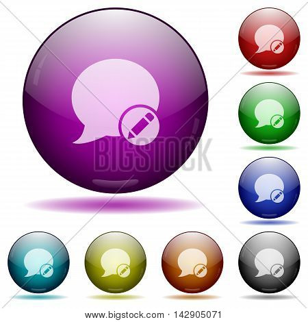 Set of color moderate blog comment glass sphere buttons with shadows.