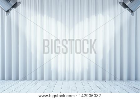 Front view of empty white curtains and wooden floor with two spotlights. Stage interior. Mock up 3D Rendering poster