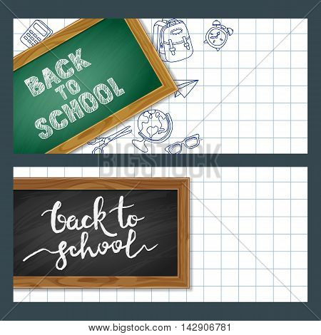 Set Of Back To School Paper Banners With School Supplies, Chalkboard And Calligraphy Lettering.