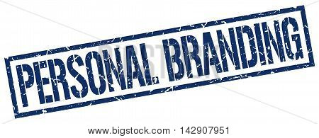 personal branding stamp. blue grunge square isolated sign