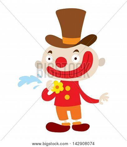 . Clown character funny happy costume cartoon joker.