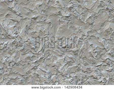 Relief surface, imitation art plaster with large brush strokes, bright colors, 3D rendering.
