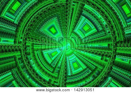 Abstract green technical square swirling ornament fractal