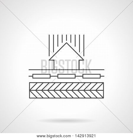 Heat circulation in underfloor heating system. Abstract scheme with ground or level, warming units or pipeline and up arrow sign. House climate concept. Flat line style vector icon.