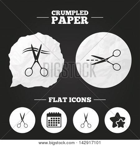 Crumpled paper speech bubble. Scissors icons. Hairdresser or barbershop symbol. Scissors cut hair. Cut dash dotted line. Tailor symbol. Paper button. Vector
