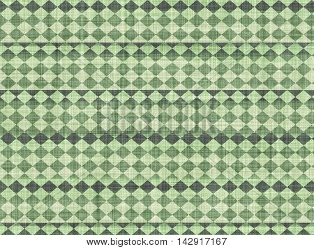 Fabric with a green tint and geometric patterns, artistic imitation.