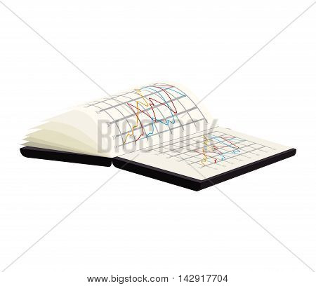 spreadsheet book notebook analysis chart  data vector illustration isolated