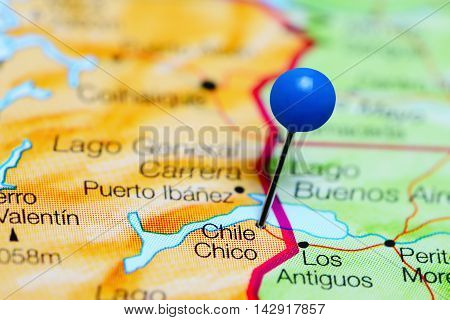 Chile Chico pinned on a map of Chile