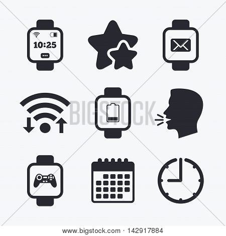 Smart watch icons. Wrist digital time watch symbols. Mail, Game joystick and wi-fi signs. Wifi internet, favorite stars, calendar and clock. Talking head. Vector