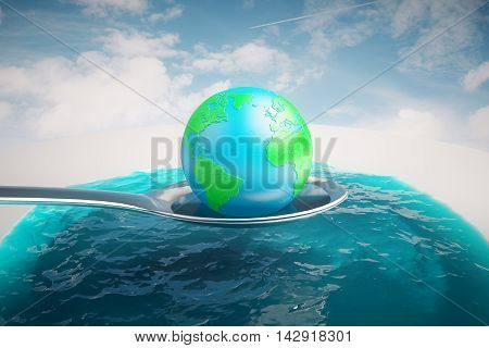 Abstract image of terrestrial globe on a huge silver spoon above water on sky background. 3D Rendering