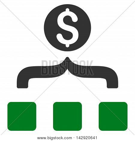 Money Aggregator icon. Vector style is bicolor flat iconic symbol with rounded angles, green and gray colors, white background.