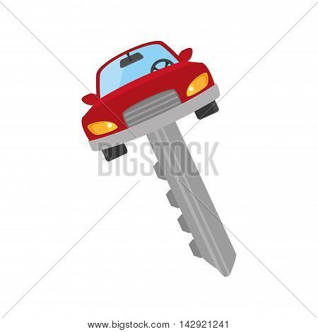 car key security automobile access  metal auto vehicle control vector illustration isolated