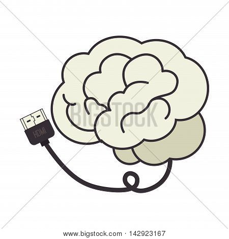 brain cable hdmi plug connection data information vector illustration isolated