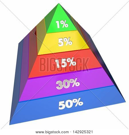 One Percent 1 Elite Groups Population Pyramid 3d Illustration