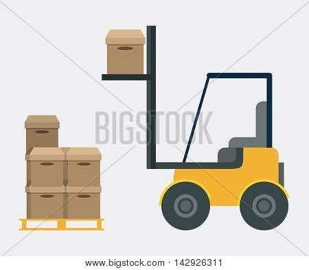 Box package forklift delivery shipping icon. Colorfull and flat illustration. Vector graphic