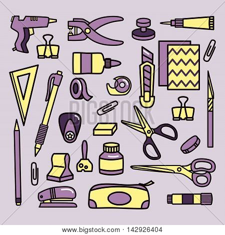 Scrapbooking tools. Vector icon set. Isolated objects.