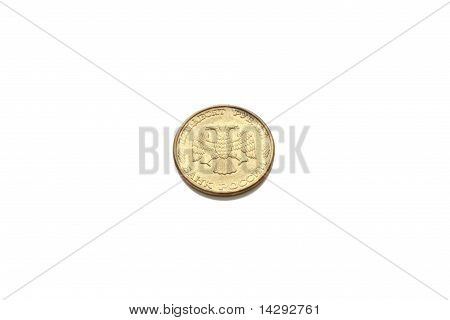 Pile Of 50 Rubles  Russian Federation Coin Isolated On White