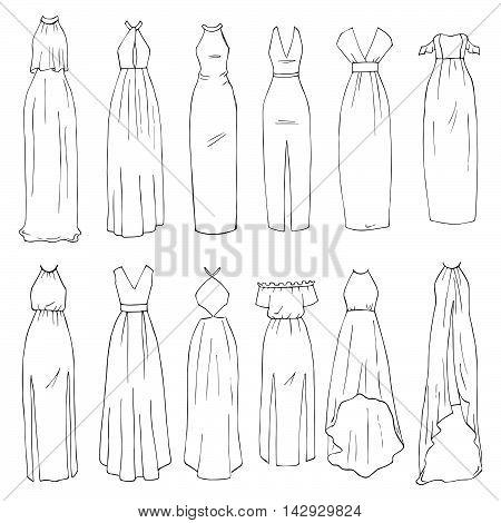 Hand drawn vector clothing set. 12 models of trendy maxi dresses. (part 1)
