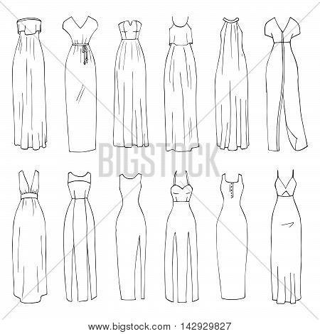 Hand drawn vector clothing set. 12 models of trendy maxi dresses. (part 2)