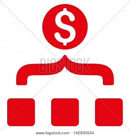 Money Aggregator icon. Vector style is flat iconic symbol with rounded angles, red color, white background.