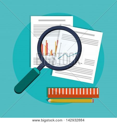 Spreadsheet lupe document infographic icon. Colorful design. Vector illustration
