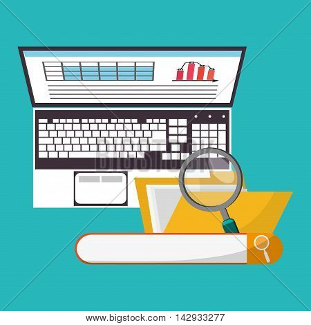 Spreadsheet lupe laptop file document infographic icon. Colorful design. Vector illustration