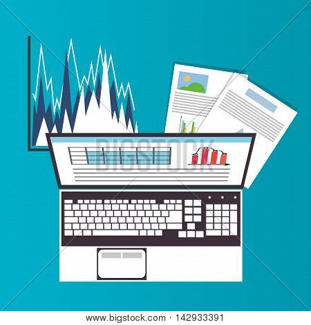 Spreadsheet laptop infographic icon. Colorful design. Vector illustration