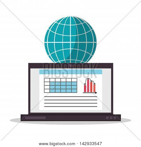 Spreadsheet laptop planet document infographic icon. Colorful design. Vector illustration